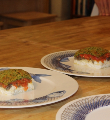 Escalope of Cod With a Soft Parsley Crust, Crème Légère with Chives