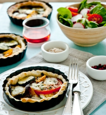 Aubergine Tart with Tapenade and Mozzarella